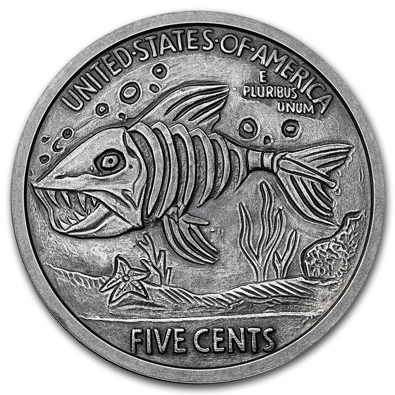 5 oz Silver Antique Hobo Nickel Replica (Green Fairy & Fish Bone)