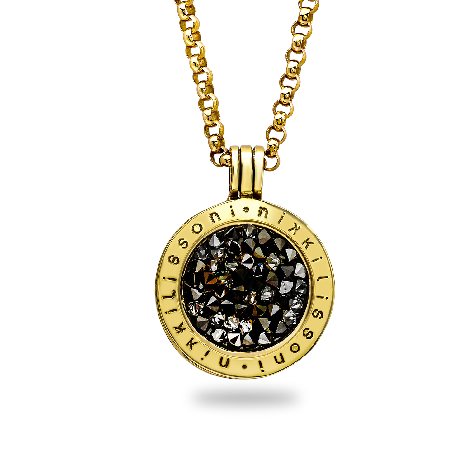 Nikki Lissoni Black Crystal 23.6 mm Pendant w/Chain