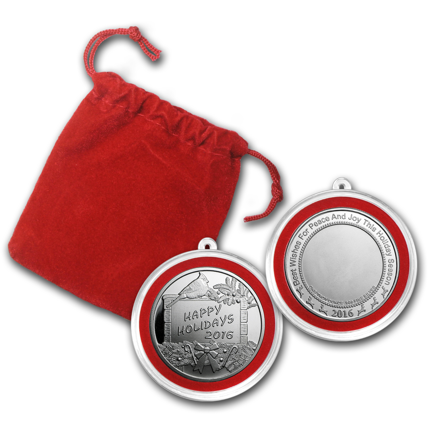 1 oz Silver Round - Happy Holidays (w/Red Pouch & Capsule)