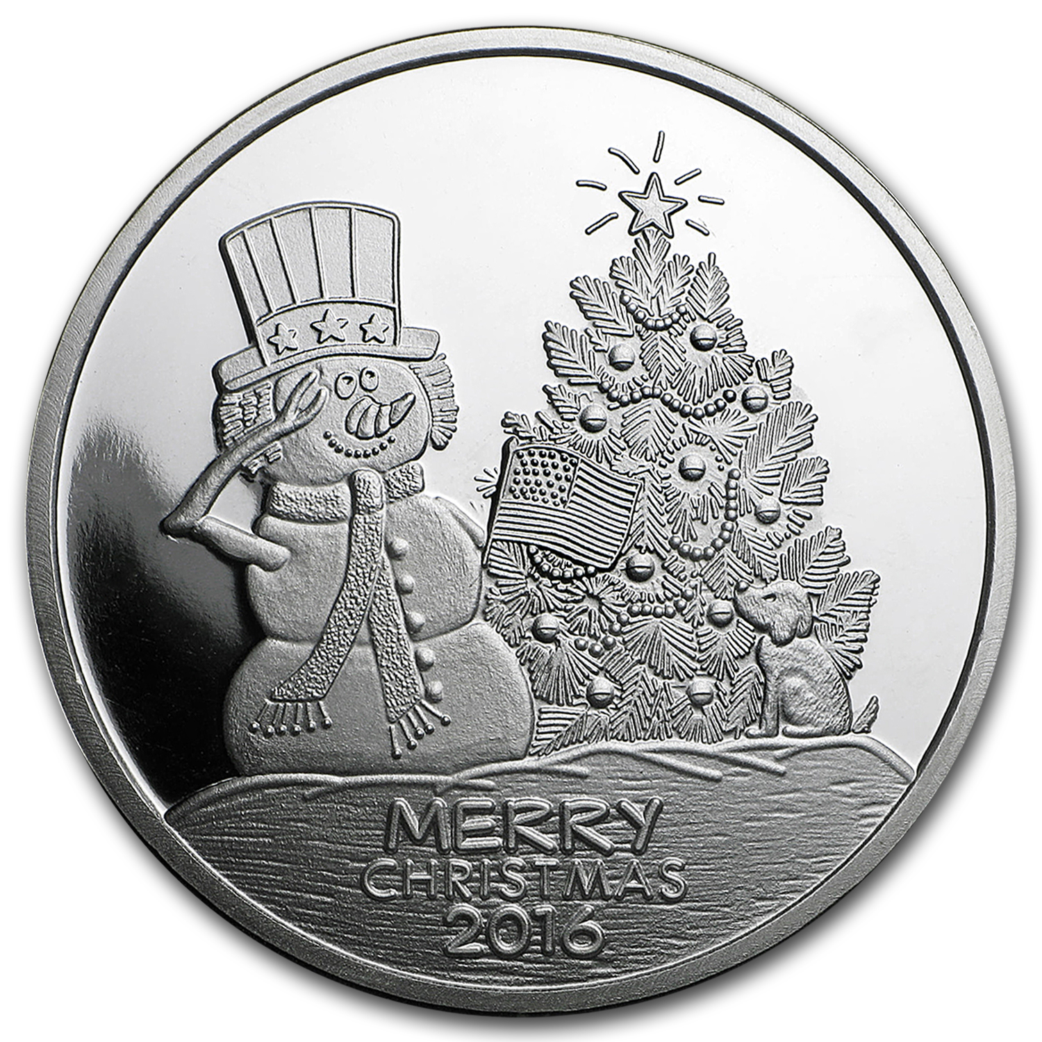 1 oz Silver Round - Merry Christmas Snowman (w/Red Pouch & Cap)