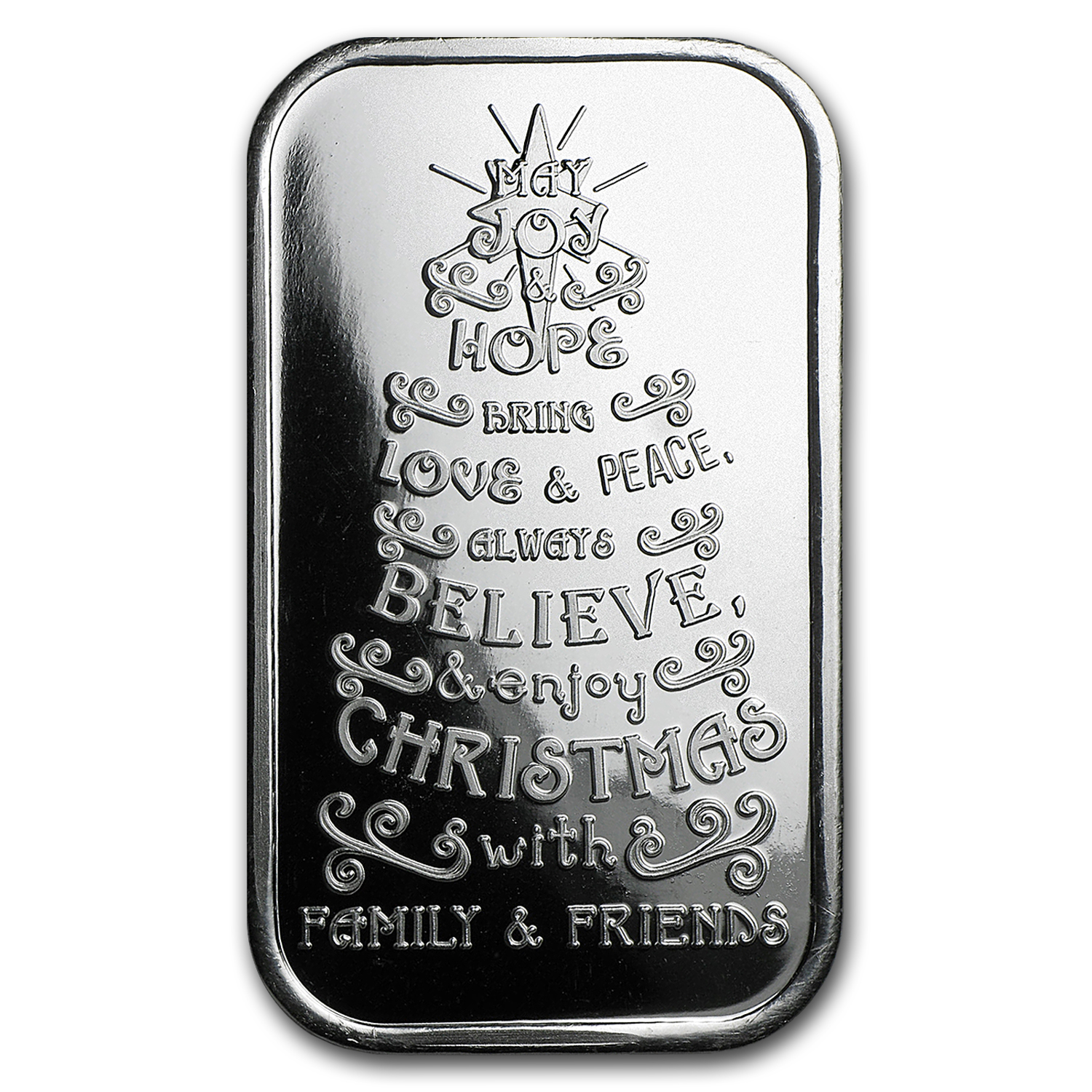 1 oz Silver Bar - Christmas Tree (w/Green Pouch & Capsule)