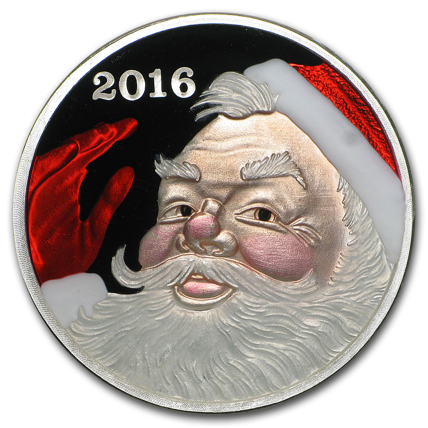 1 oz Silver Round - Santa (Enameled, w/Blue Pouch & Capsule)
