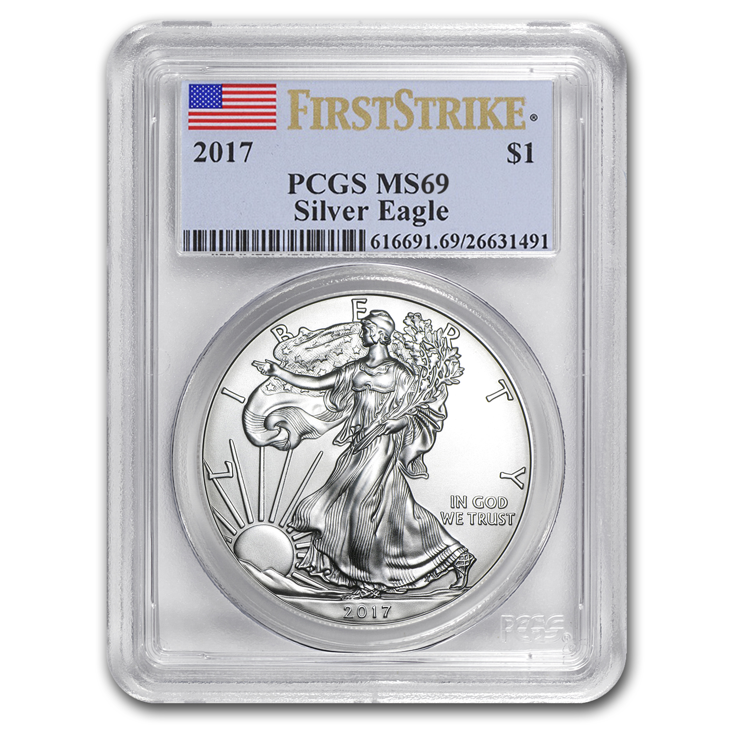 2017 Silver American Eagle MS-69 PCGS (First Strike)
