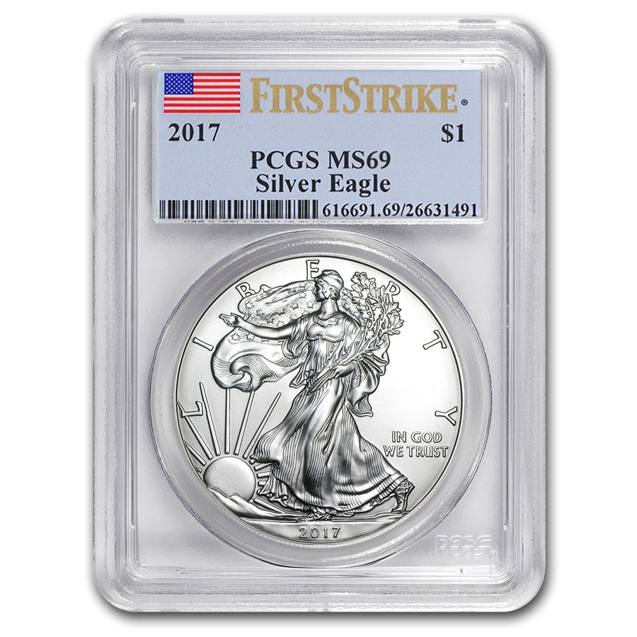 2017 Silver American Eagle Ms 69 Pcgs First Strike
