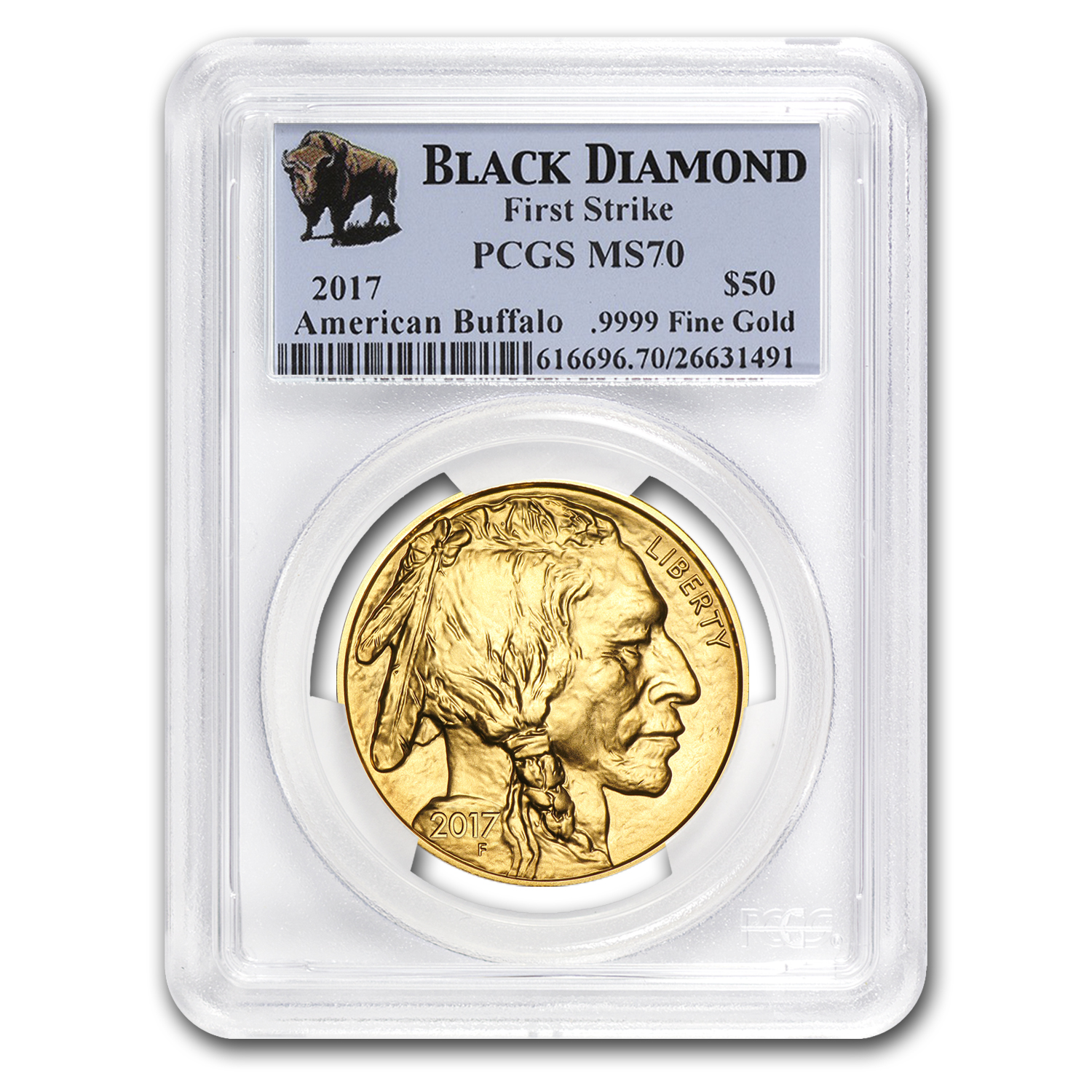 2017 1 oz Gold Buffalo MS-70 PCGS (FS, Black Diamond)