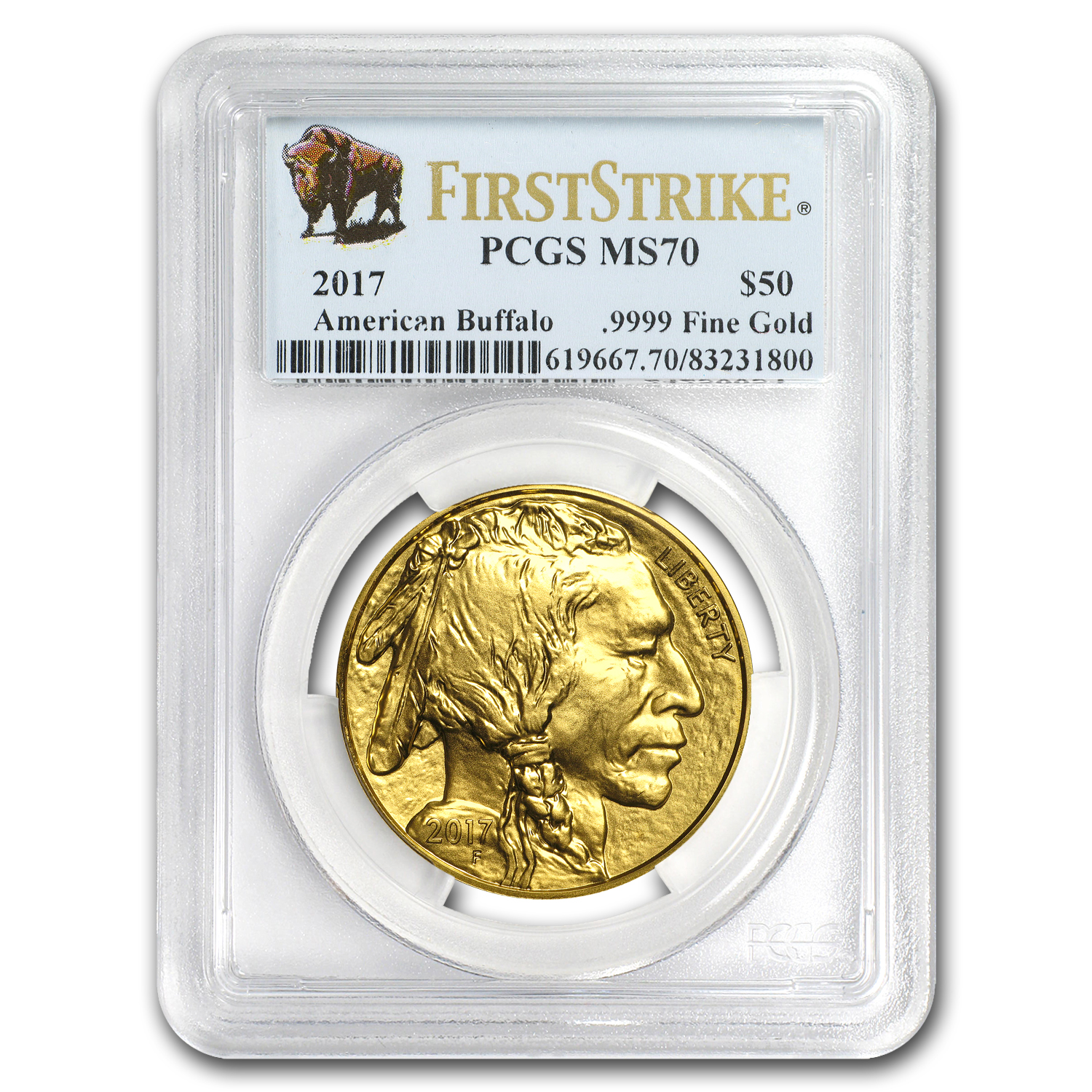 2017 1 oz Gold Buffalo MS-70 PCGS (First Strike, Buffalo Label)