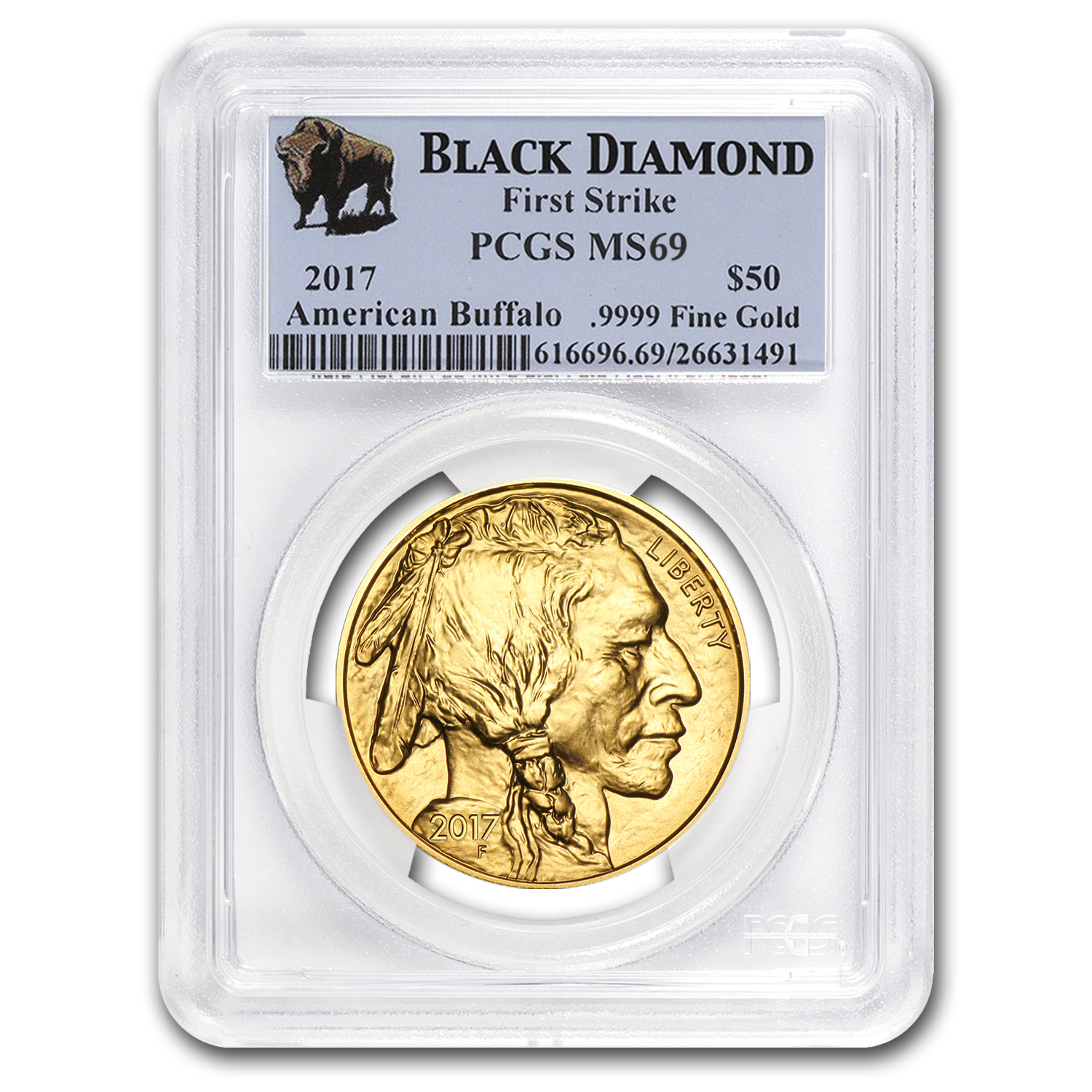 2017 1 oz Gold Buffalo MS-69 PCGS (FS, Black Diamond)