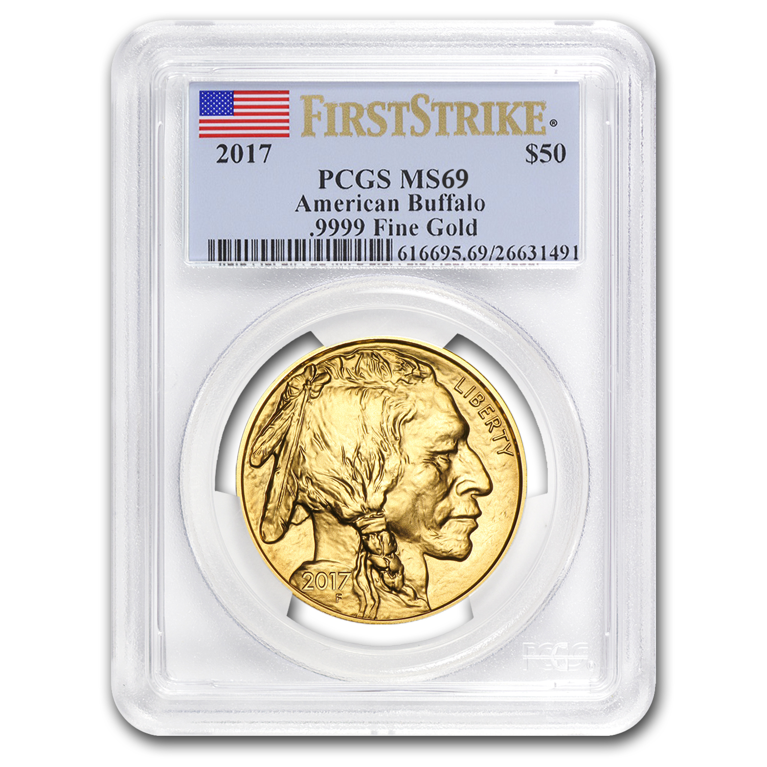 2017 1 oz Gold Buffalo MS-69 PCGS (First Strike, Flag Label)