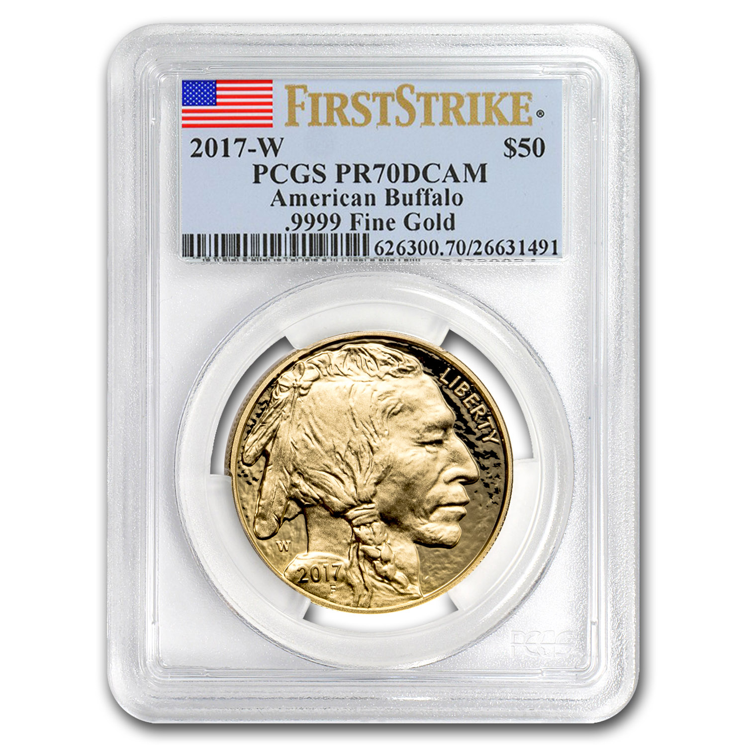2017-W 1 oz Proof Gold Buffalo PR-70 PCGS (FS, Flag Label)
