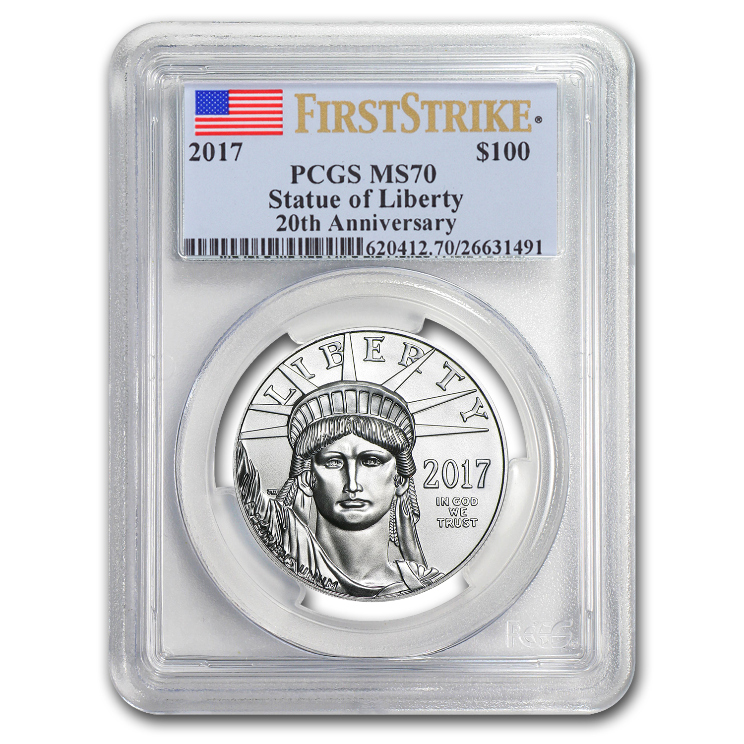 2017 1 oz Platinum American Eagle MS-70 PCGS (FS, Flag Label