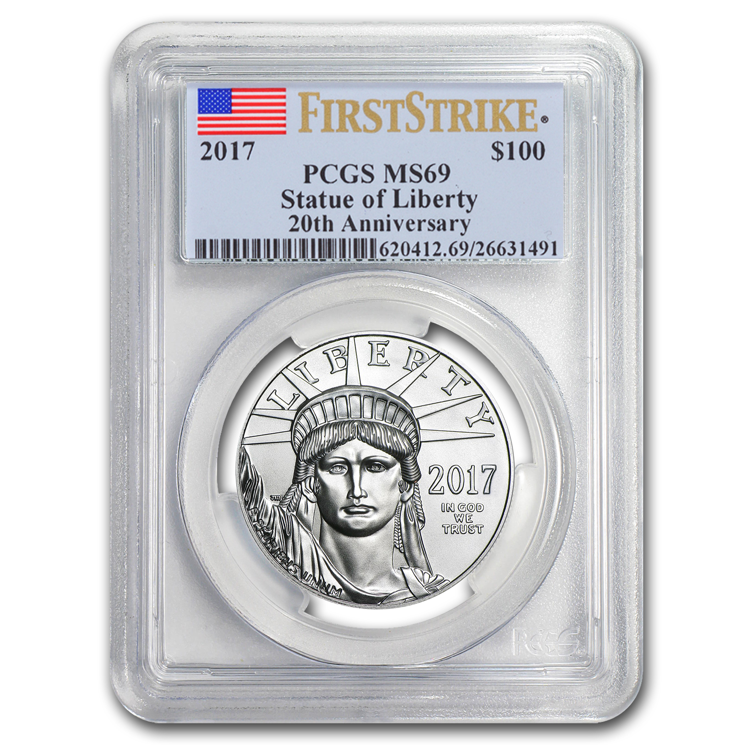 2017 1 oz Platinum American Eagle MS-69 PCGS (FS, Flag Label)