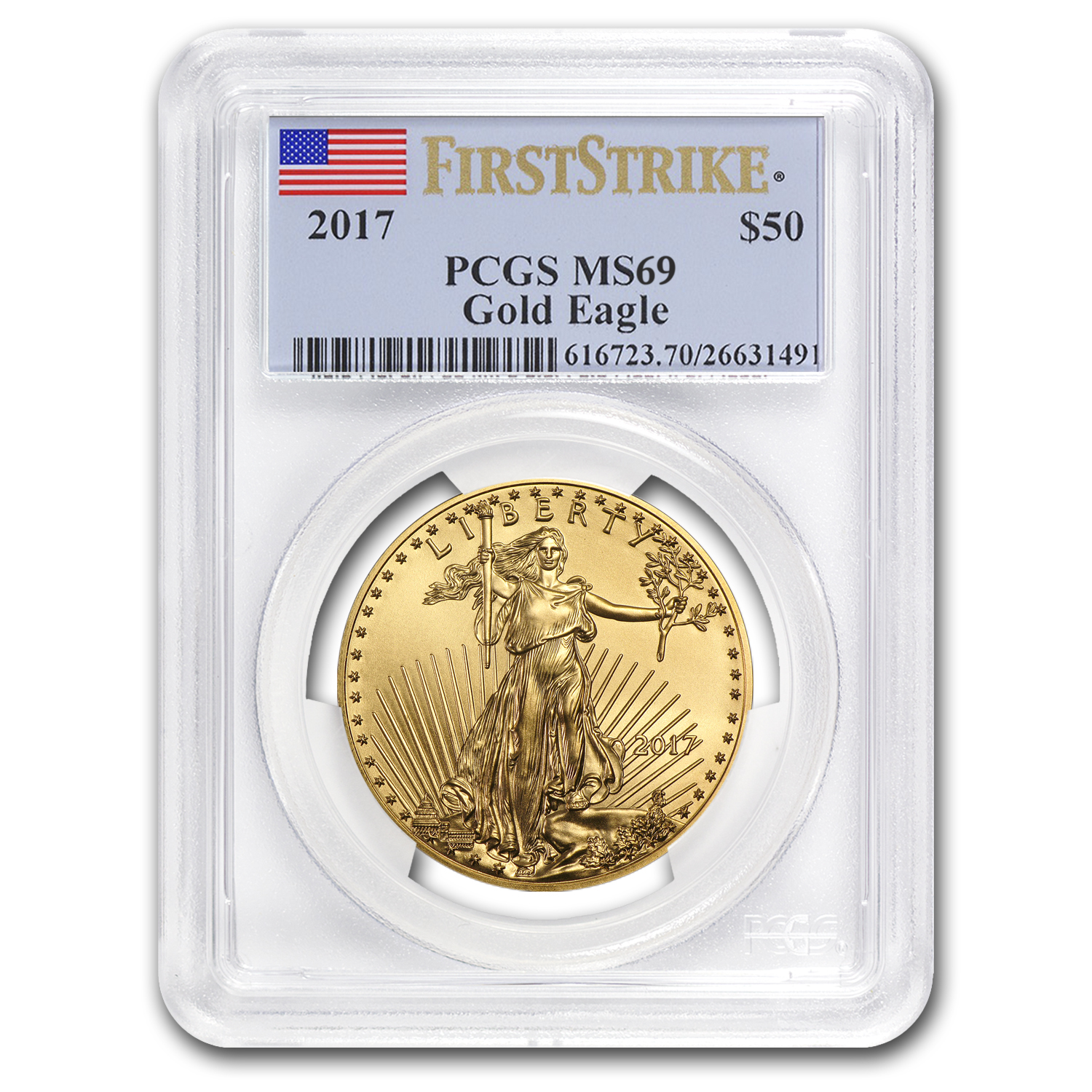 2017 1 oz Gold American Eagle MS-69 PCGS (First Strike)