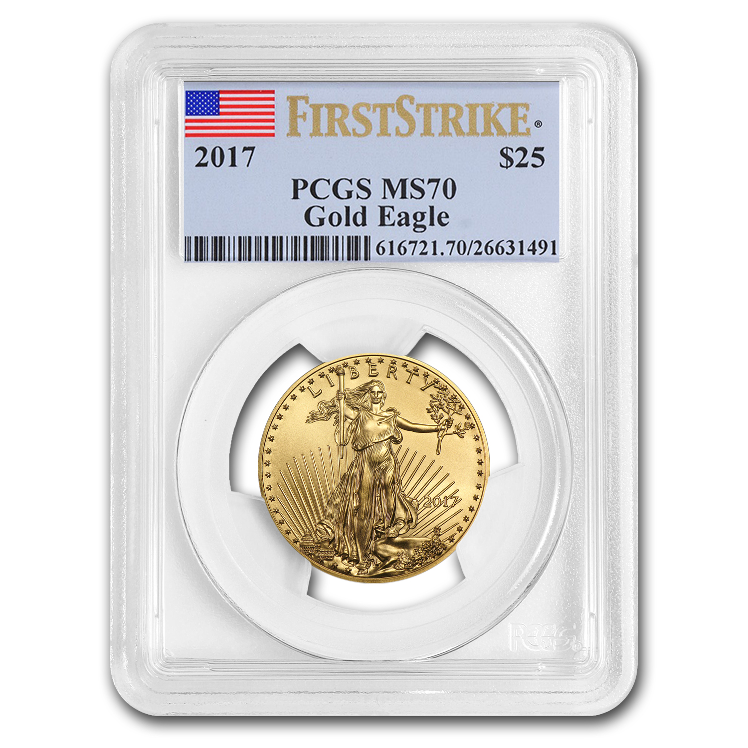 2017 1/2 oz Gold American Eagle MS-70 PCGS (First Strike)