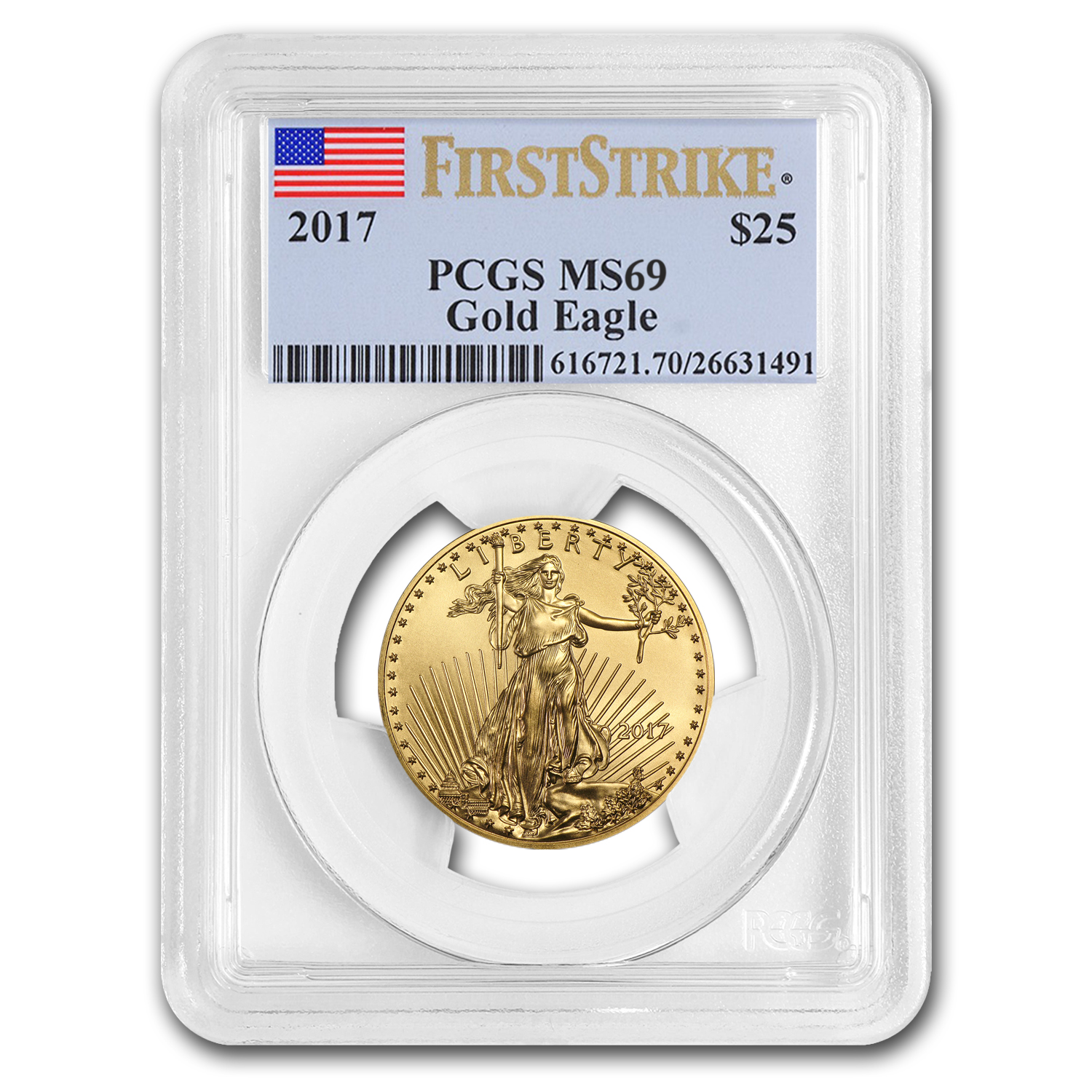 2017 1/2 oz Gold American Eagle MS-69 PCGS (First Strike)