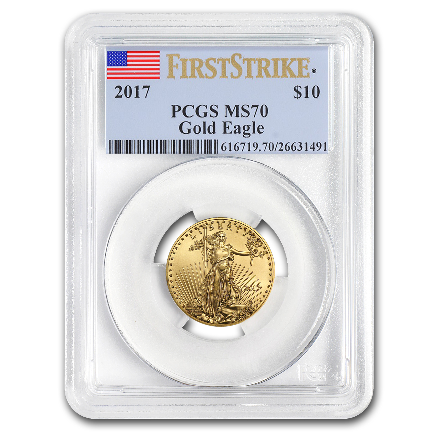 2017 1/4 oz Gold American Eagle MS-70 PCGS (First Strike)