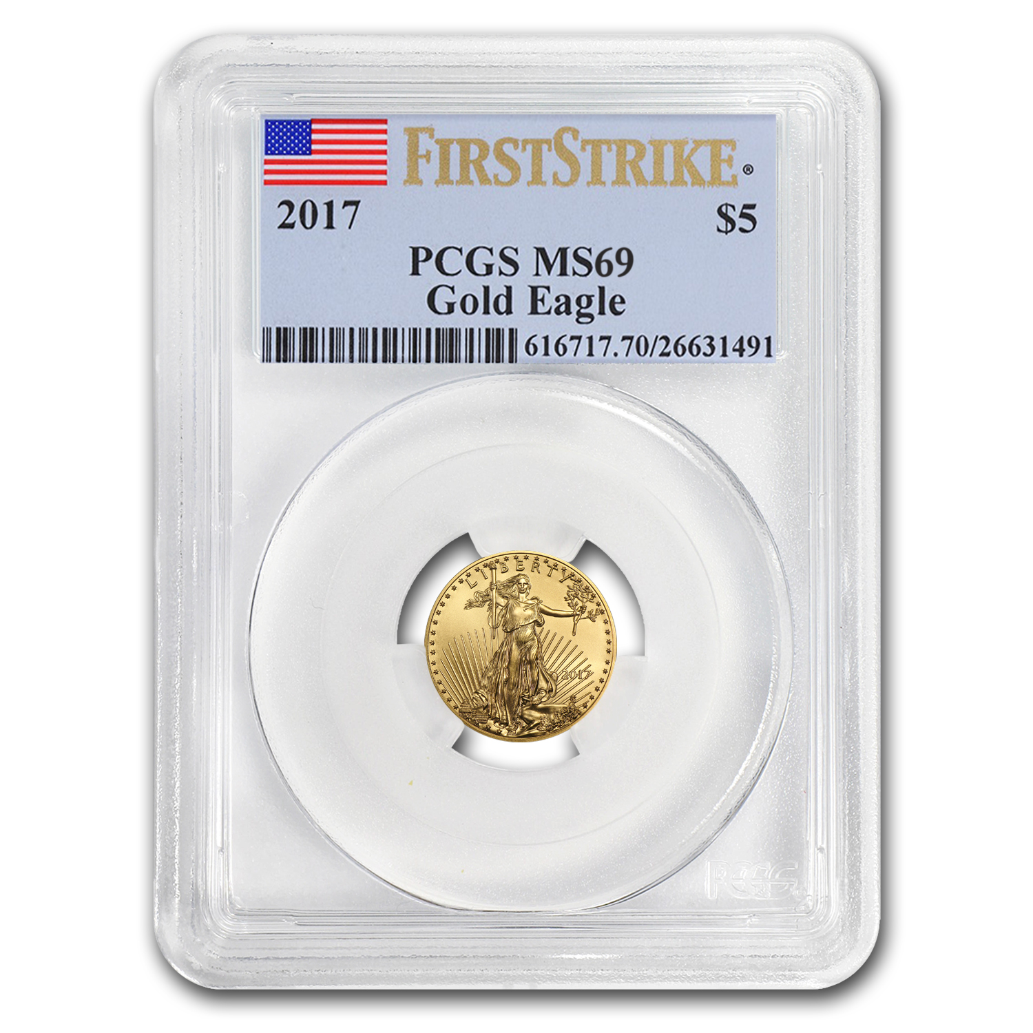 2017 1/10 oz Gold American Eagle MS-69 PCGS (First Strike)