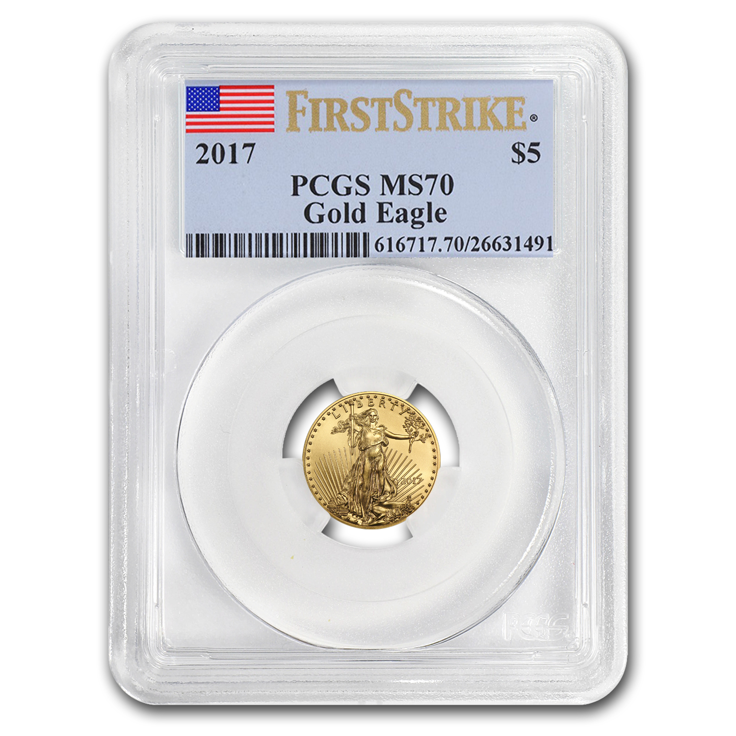 2017 1/10 oz Gold American Eagle MS-70 PCGS (First Strike)