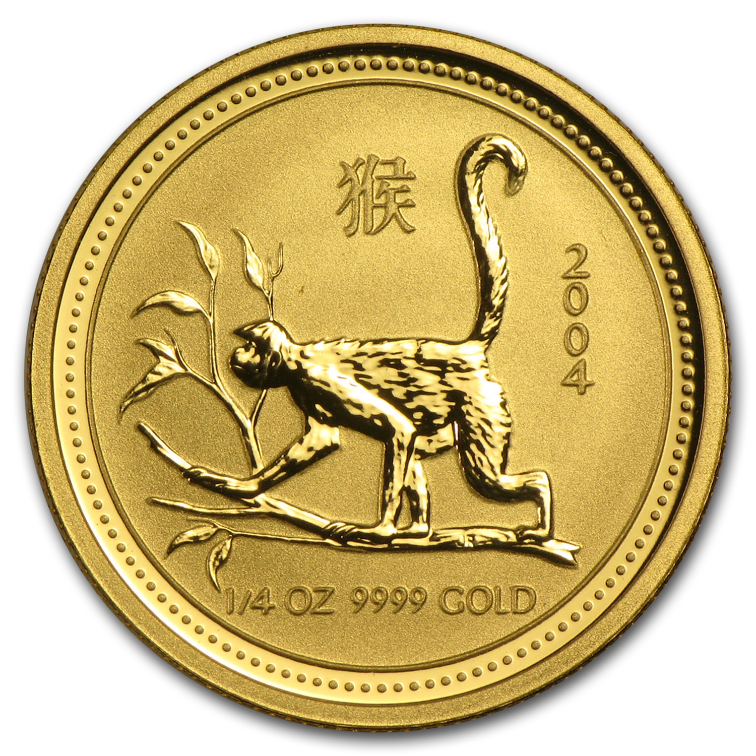2004 1/4 oz Gold Lunar Year of the Monkey BU (Series I)
