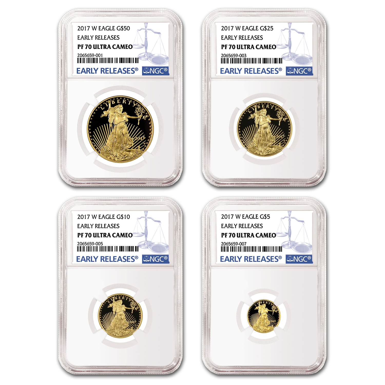 2017-W 4-Coin Proof Gold American Eagle Set PF-70 NGC (ER)