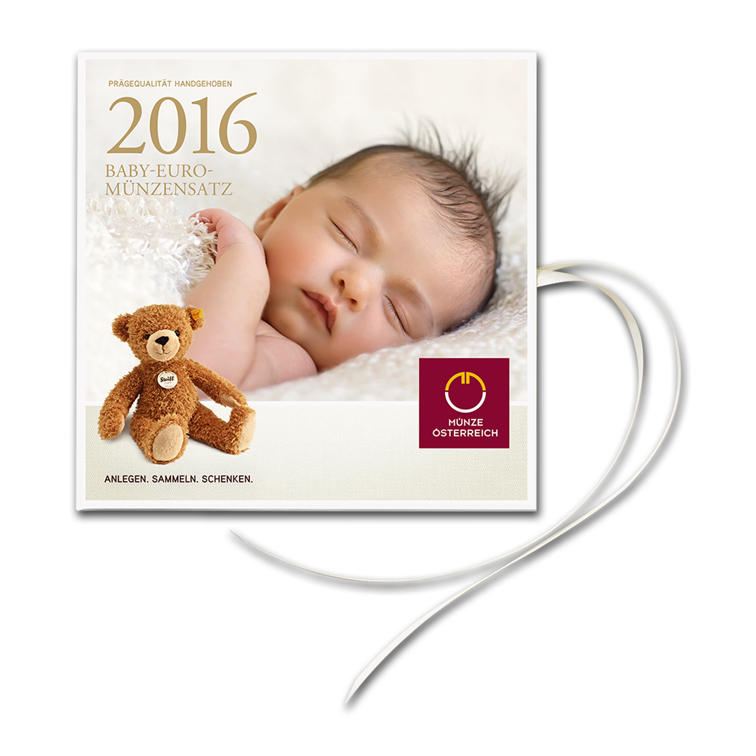 2016 Austria 8-Coin Unforgettable Baby Euro Set with Teddy Bear