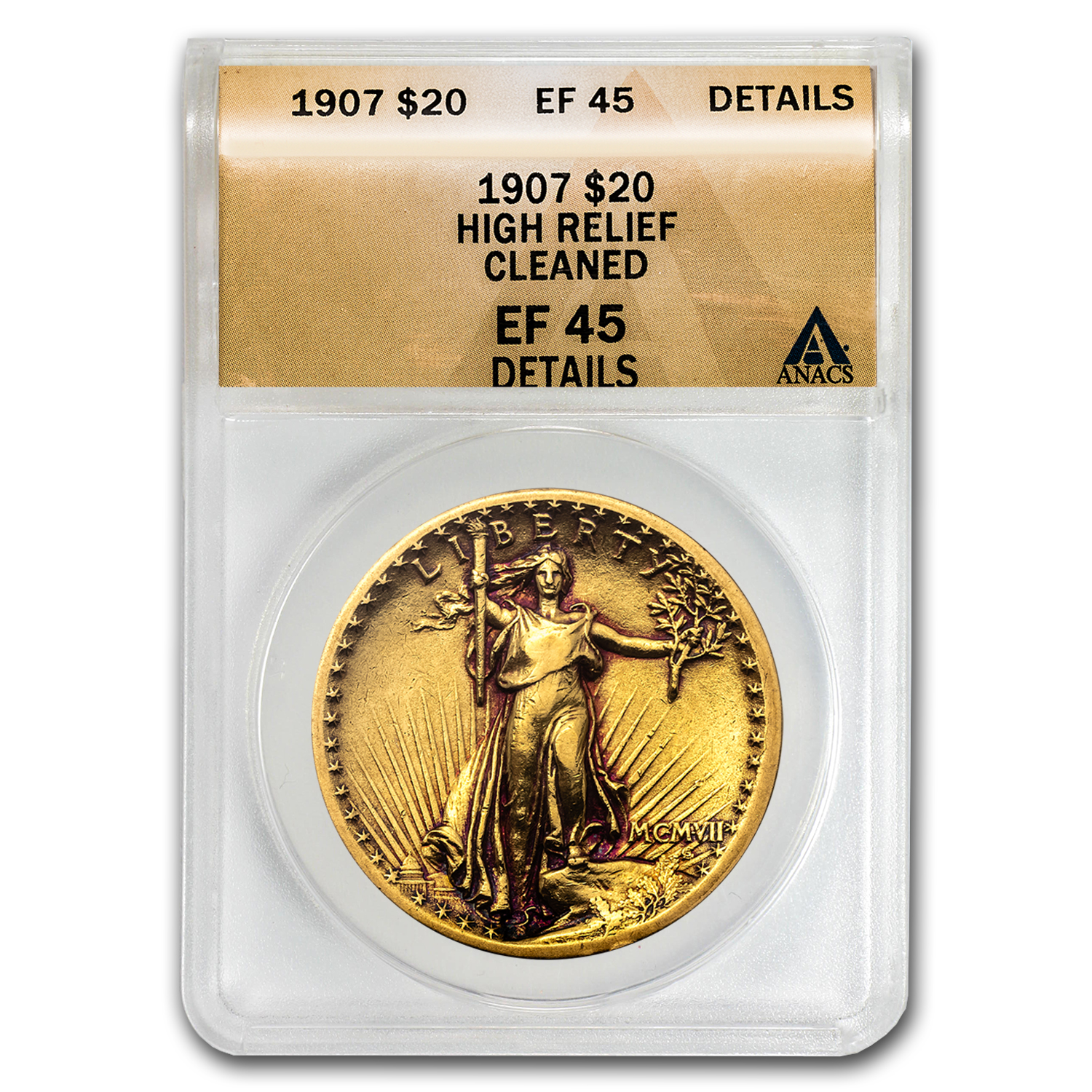 1907 $20 St. Gaudens Gold High Relief XF-45 Details ANACS (Clnd)