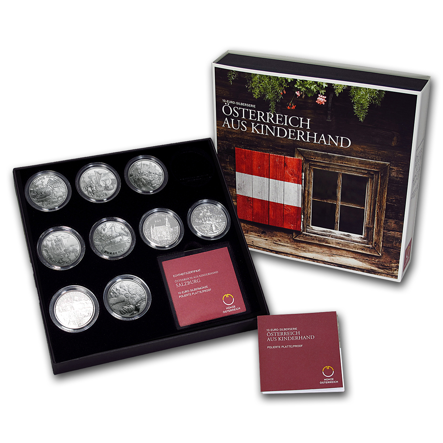 2012-2016 Austria 9-Coin Silver Piece by Piece Proof Set