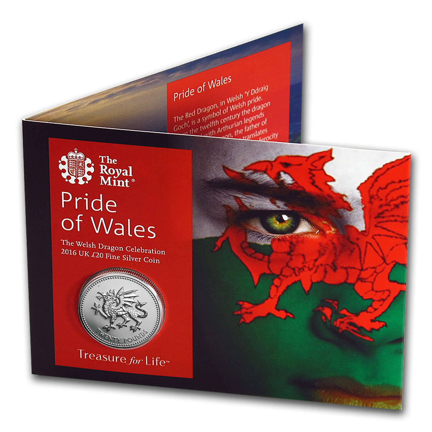 2016 Great Britain Silver £20 for £20 Welsh Dragon