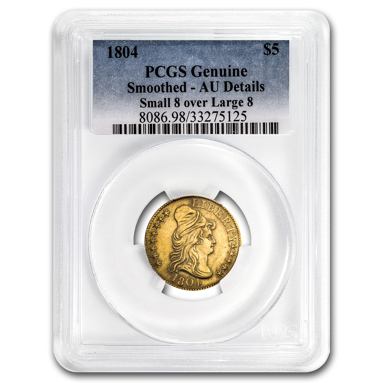 1804 Turban Head $5 Gold Half Eagle Sm/Lg 8 AU Details PCGS