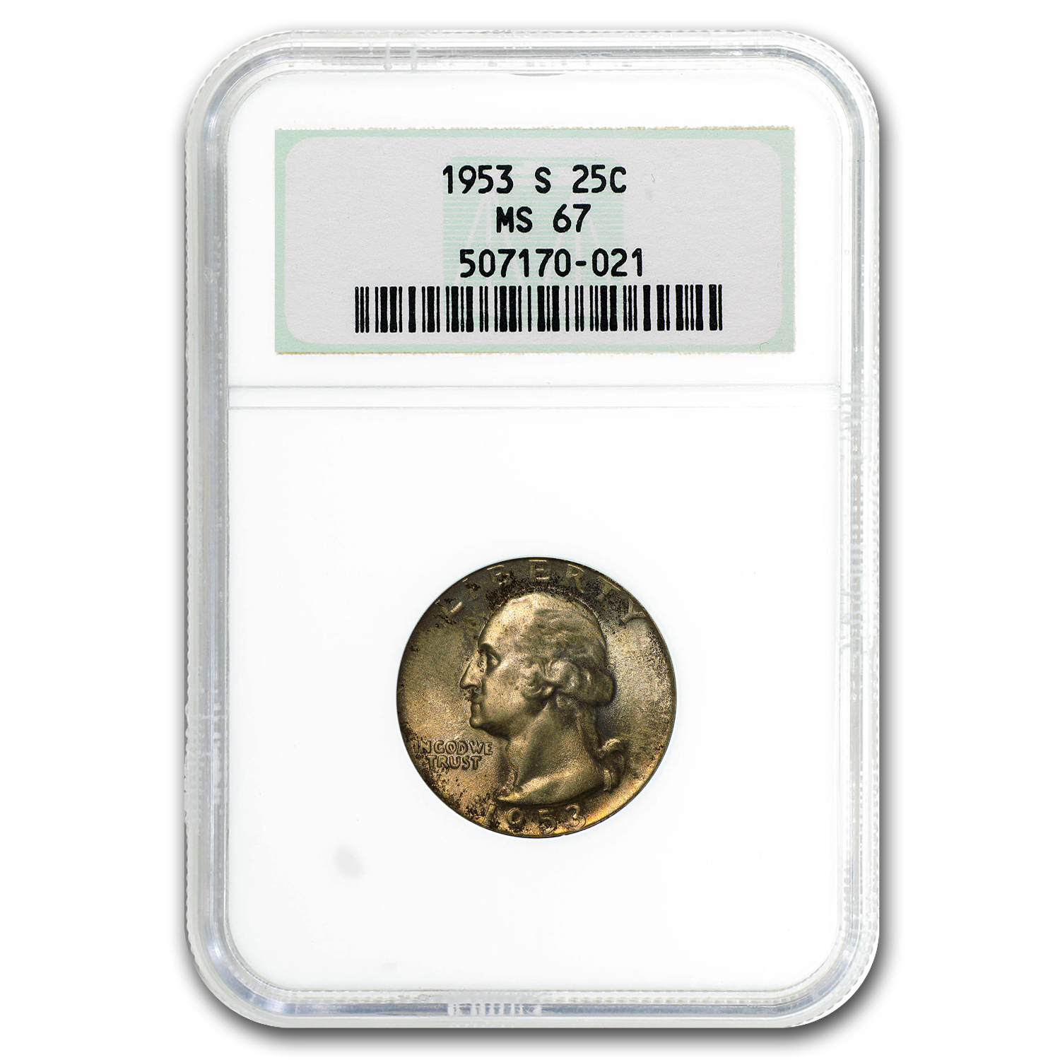 1953-S Washington Quarter MS-67 NGC (Mint Set Toning)