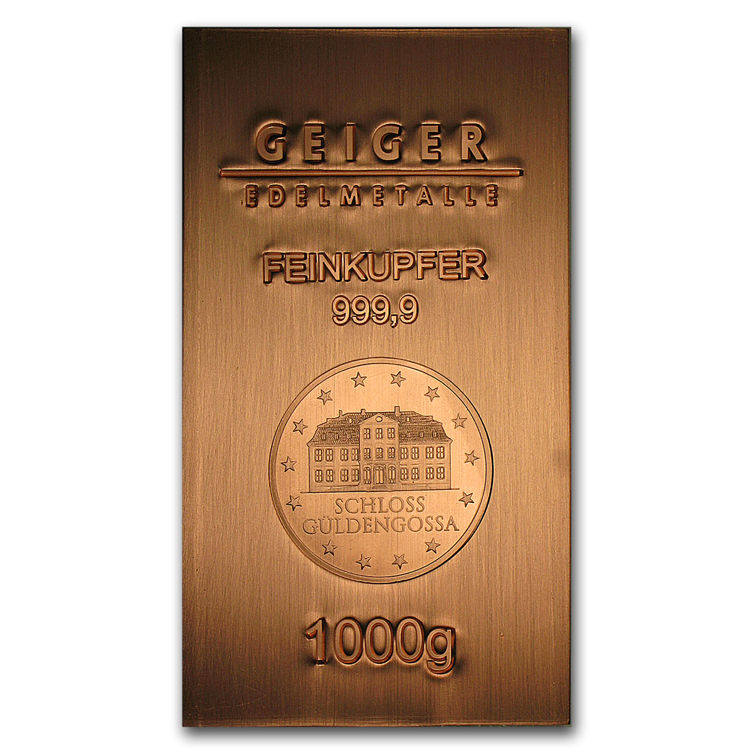 1000 gram Copper Bar - Geiger (Industry Line Series, .9999 Fine)