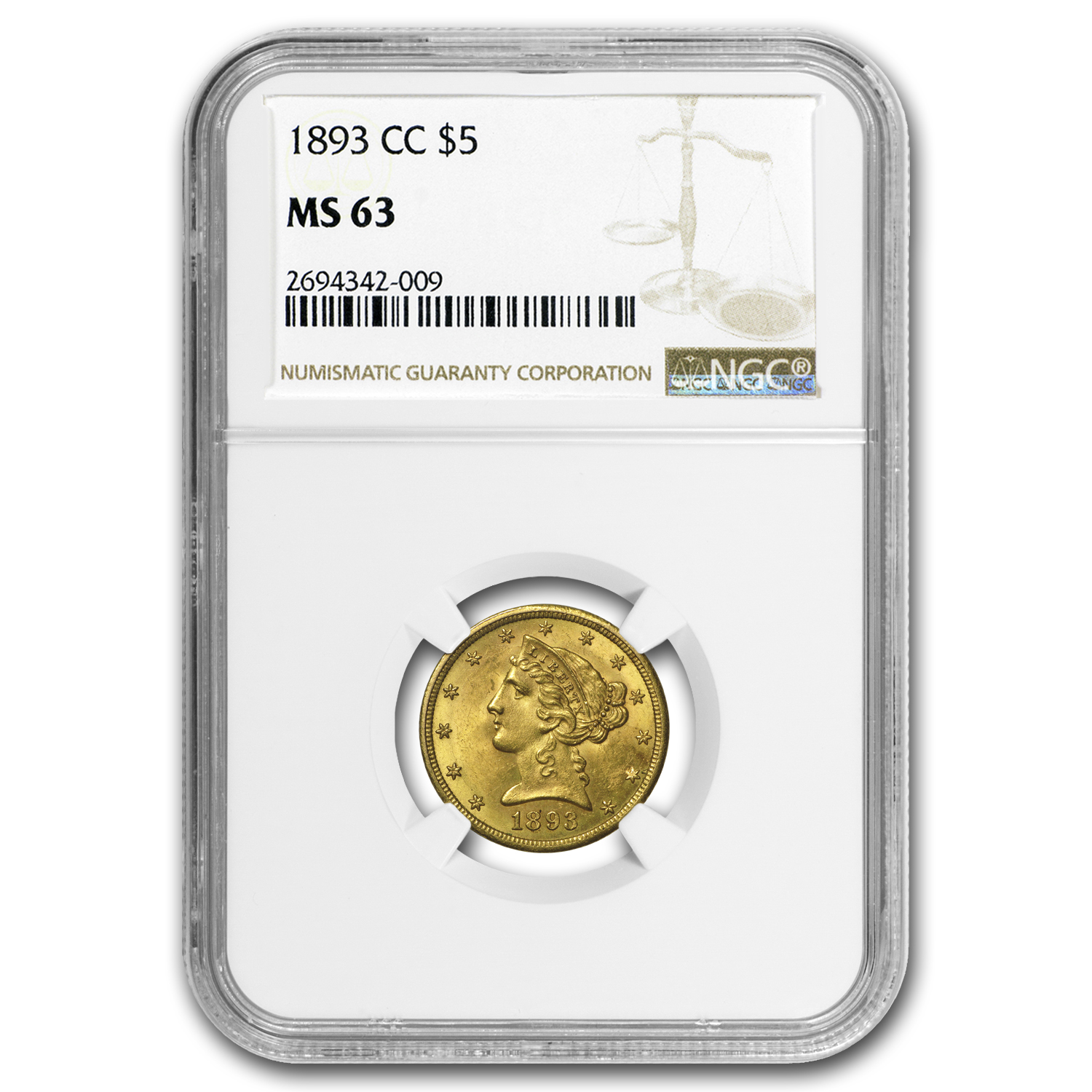1893-CC $5 Liberty Gold Half Eagle MS-63 NGC