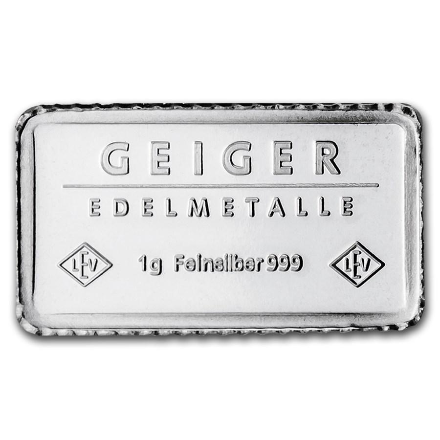 1 Gram Silver Bar Geiger Edelmetalle Fractional Less