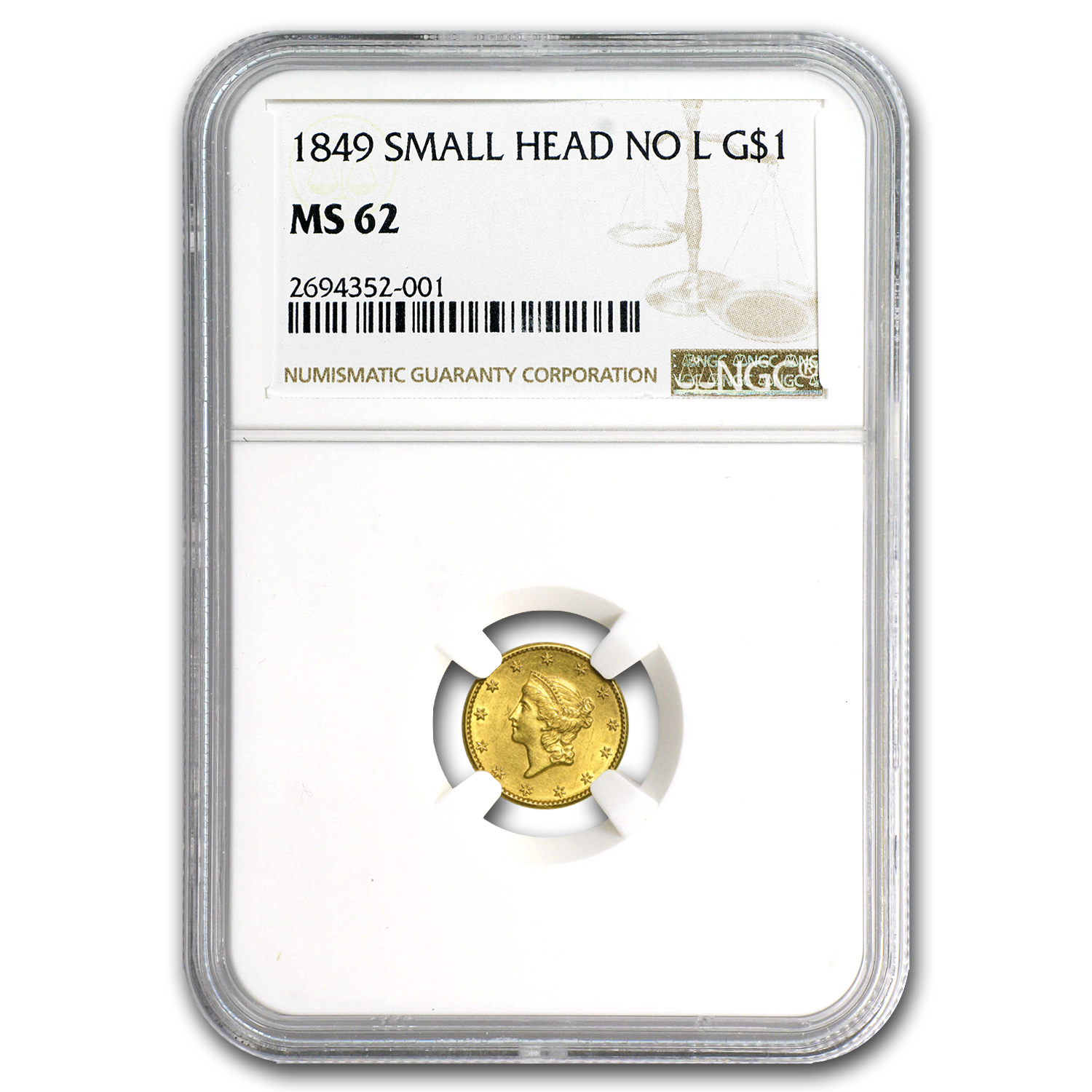 1849 $1 Liberty Gold Small Head Open Wreath No L MS-62 NGC