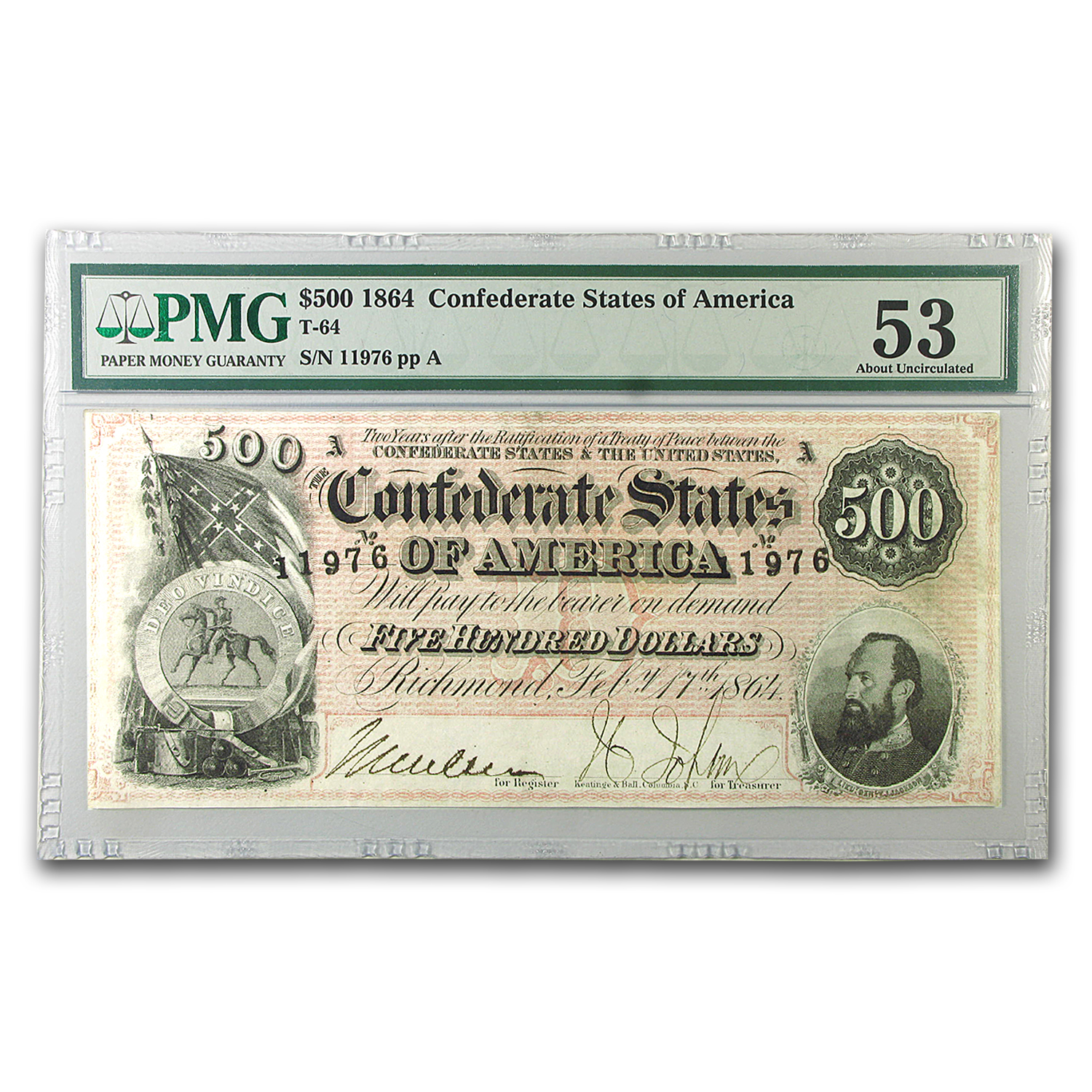 1864 $500 (T-64) Washington-Jackson AU-53 PMG