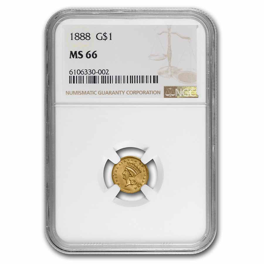 1888 $1 Indian Head Gold MS-66 NGC