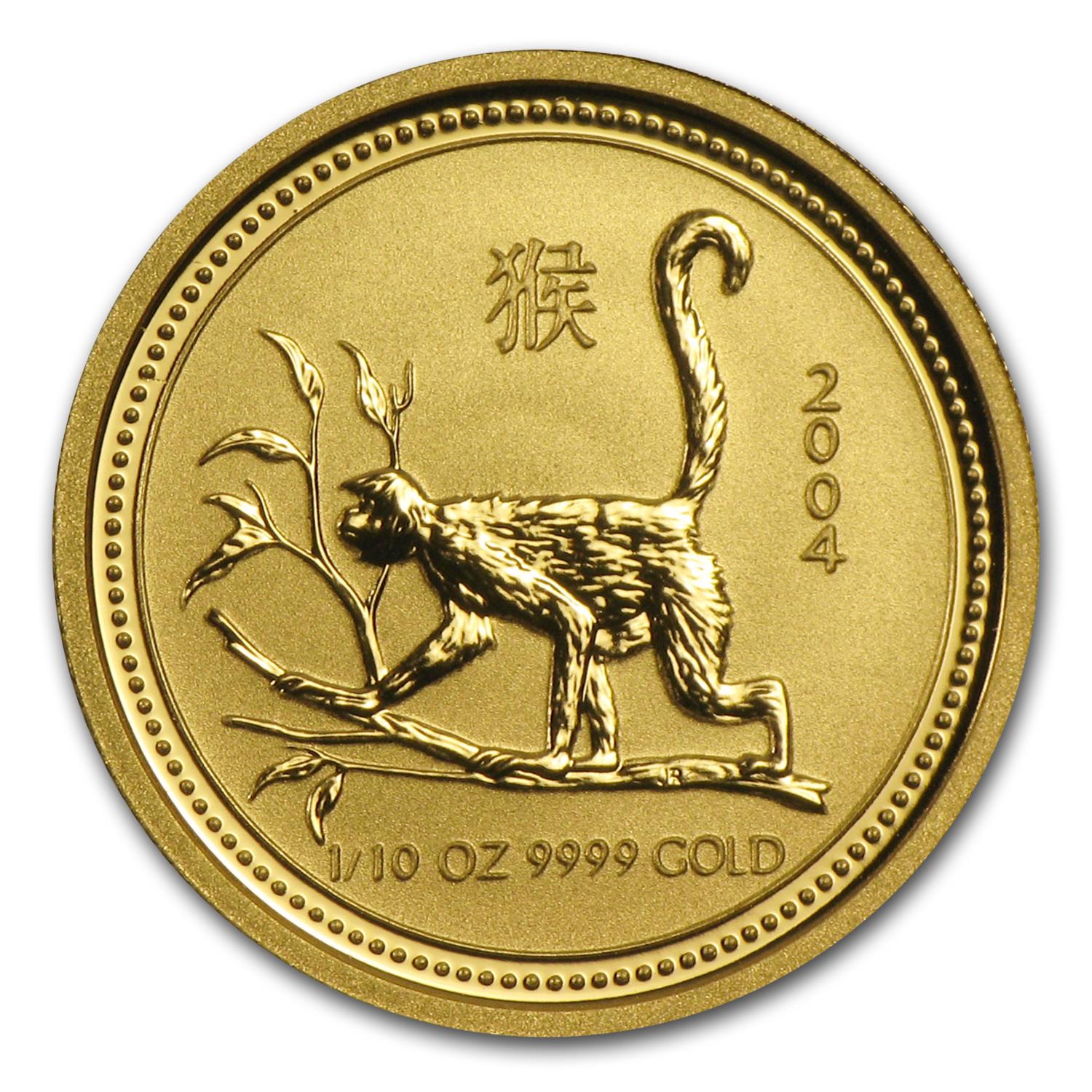 2004 1/10 oz Gold Lunar Year of the Monkey BU (Series I)