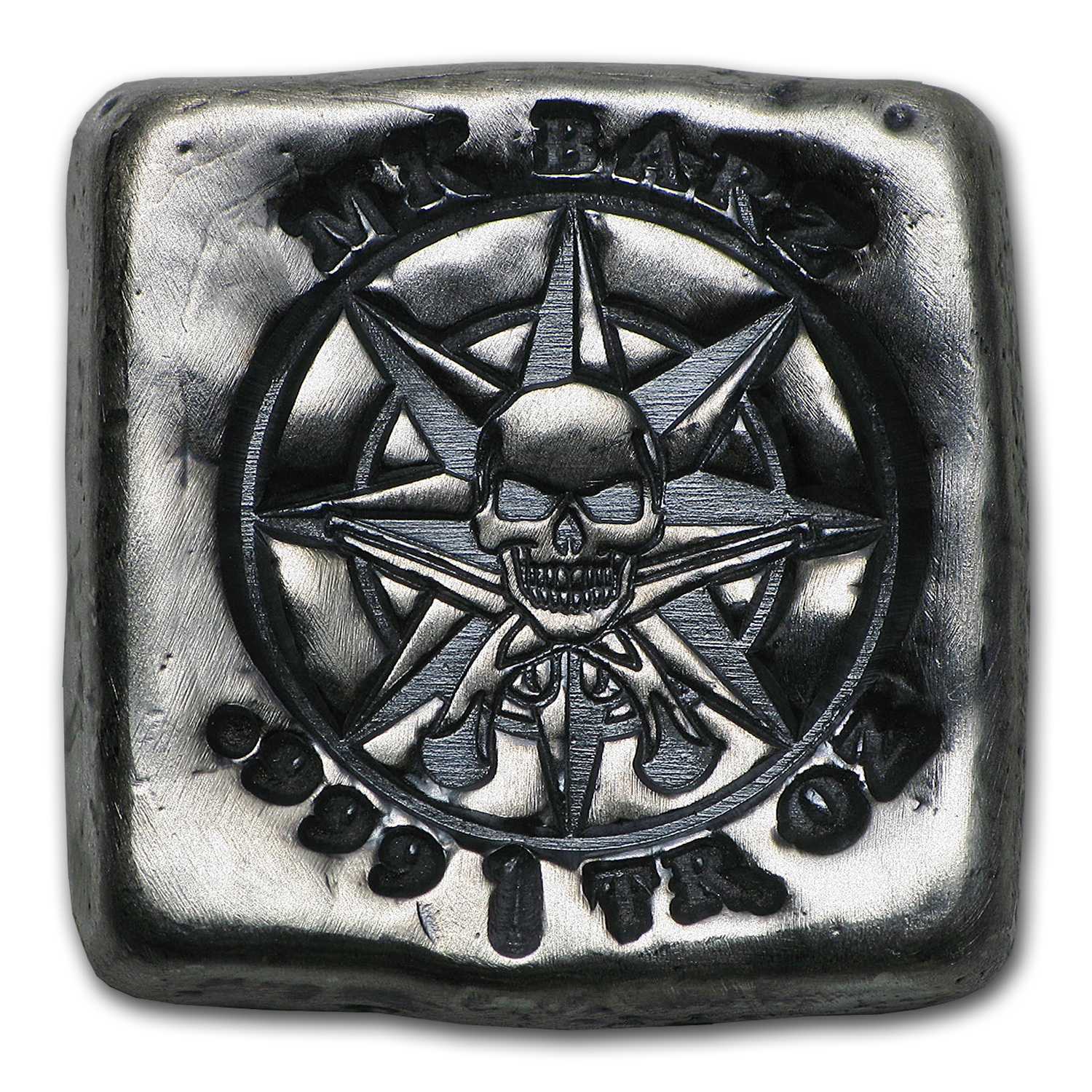 1 oz Silver Square - MK Barz & Bullion (Pirate Compass)