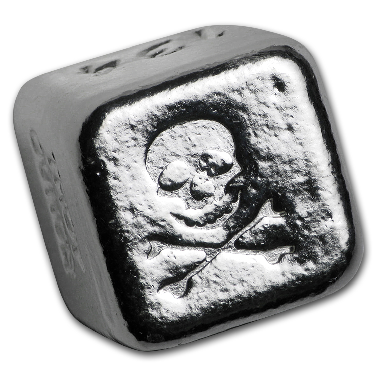 1 oz Silver Cube - Yeager Poured Silver (Skull and Crossbones)