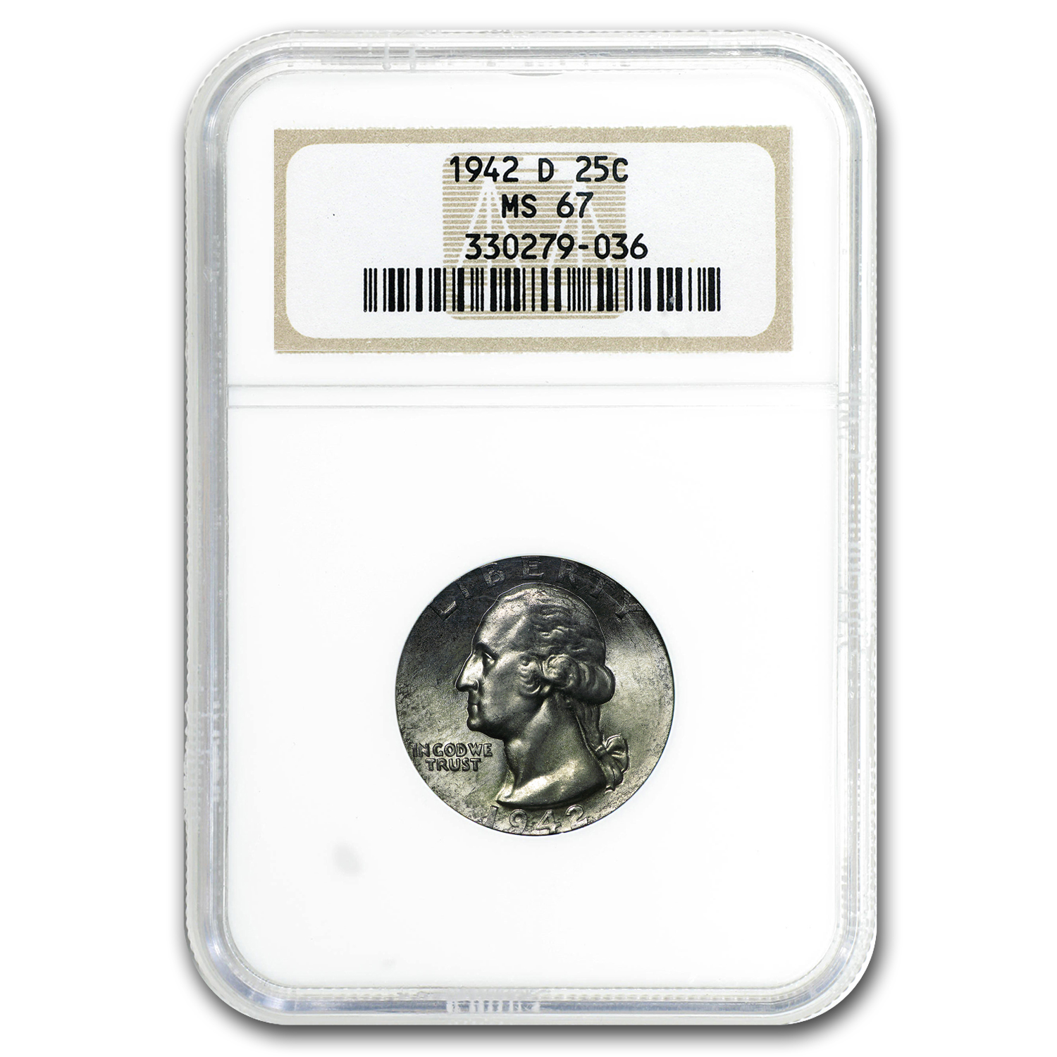 1942-D Washington Quarter MS-67 NGC (Toned)