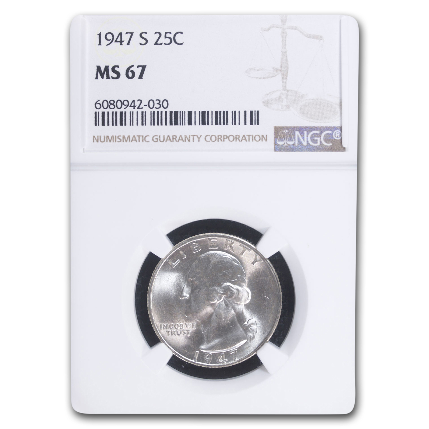 1947-S Washington Quarter MS-67 NGC (Toned)