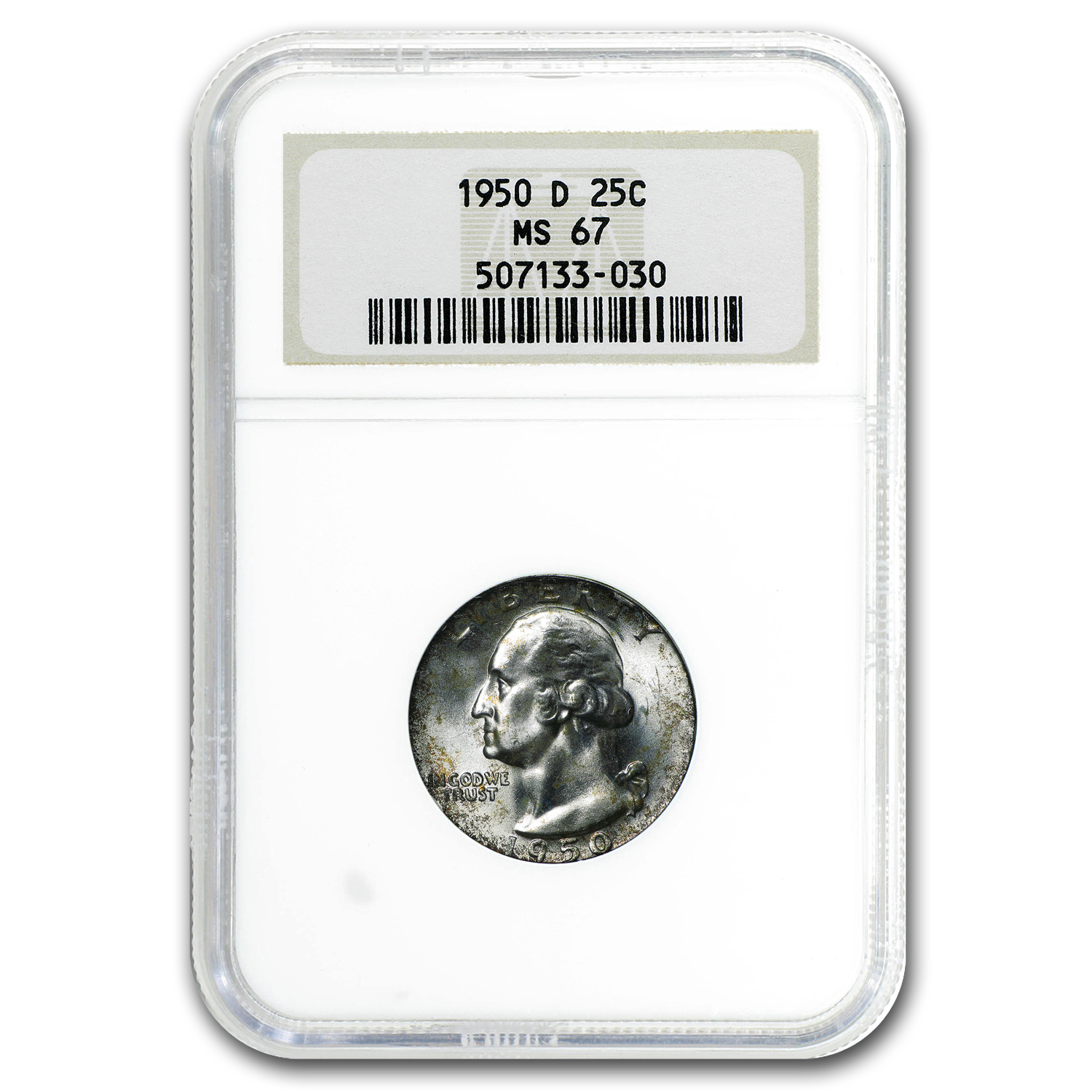 1950-D Washington Quarter MS-67 NGC (Toned)