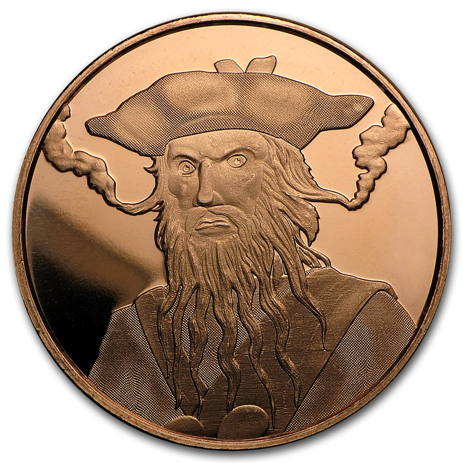 1 Oz Copper Round Blackbeard Anonymous Mint 1 Oz