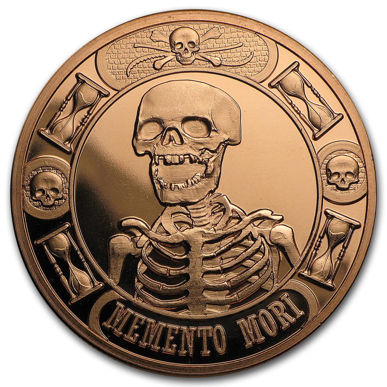 1 Oz Copper Round Memento Mori Anonymous Mint 1 Oz