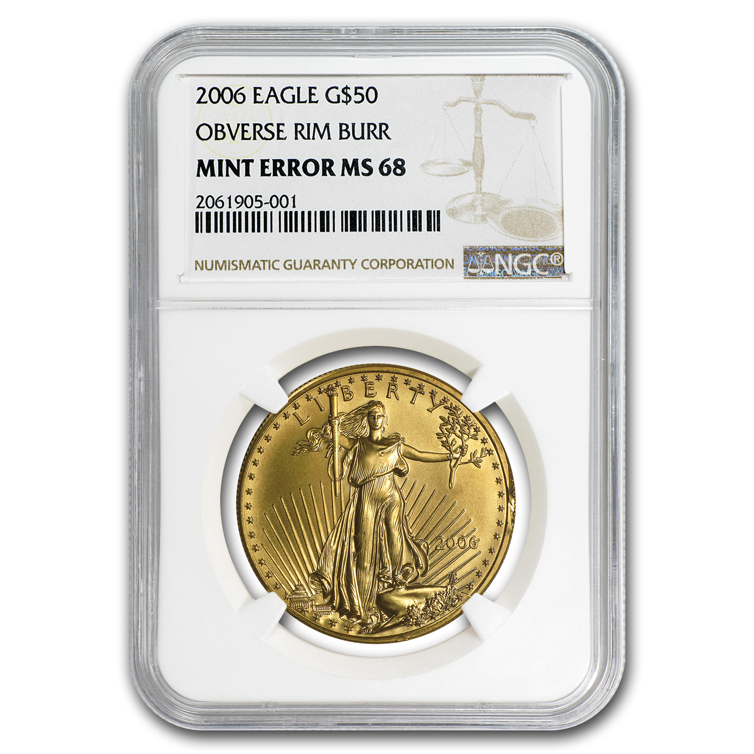 2006 1 oz Gold American Eagle MS-68 NGC (Obv Mint Error)