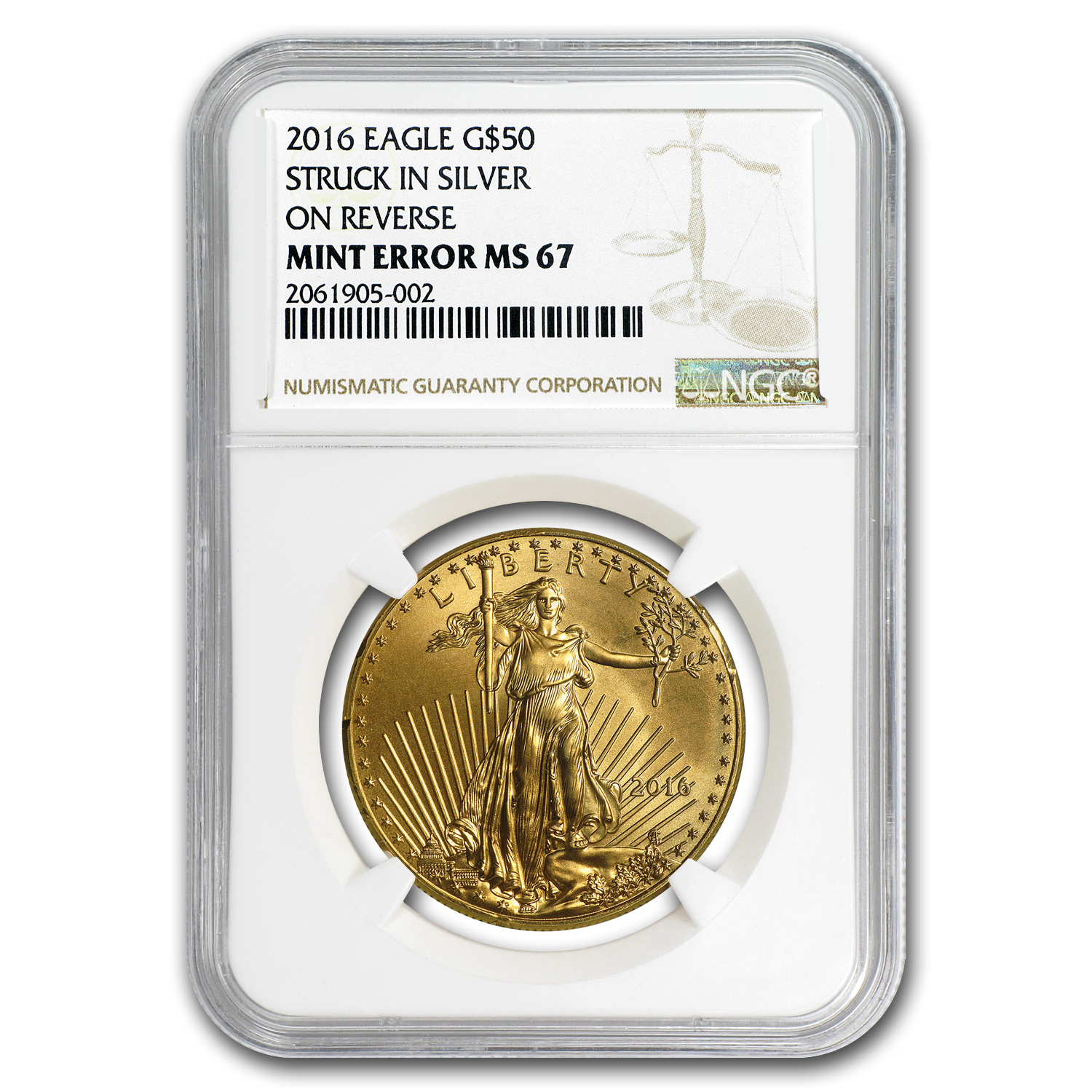 2016 1 oz Gold American Eagle MS-67 NGC (Rev Mint Error)