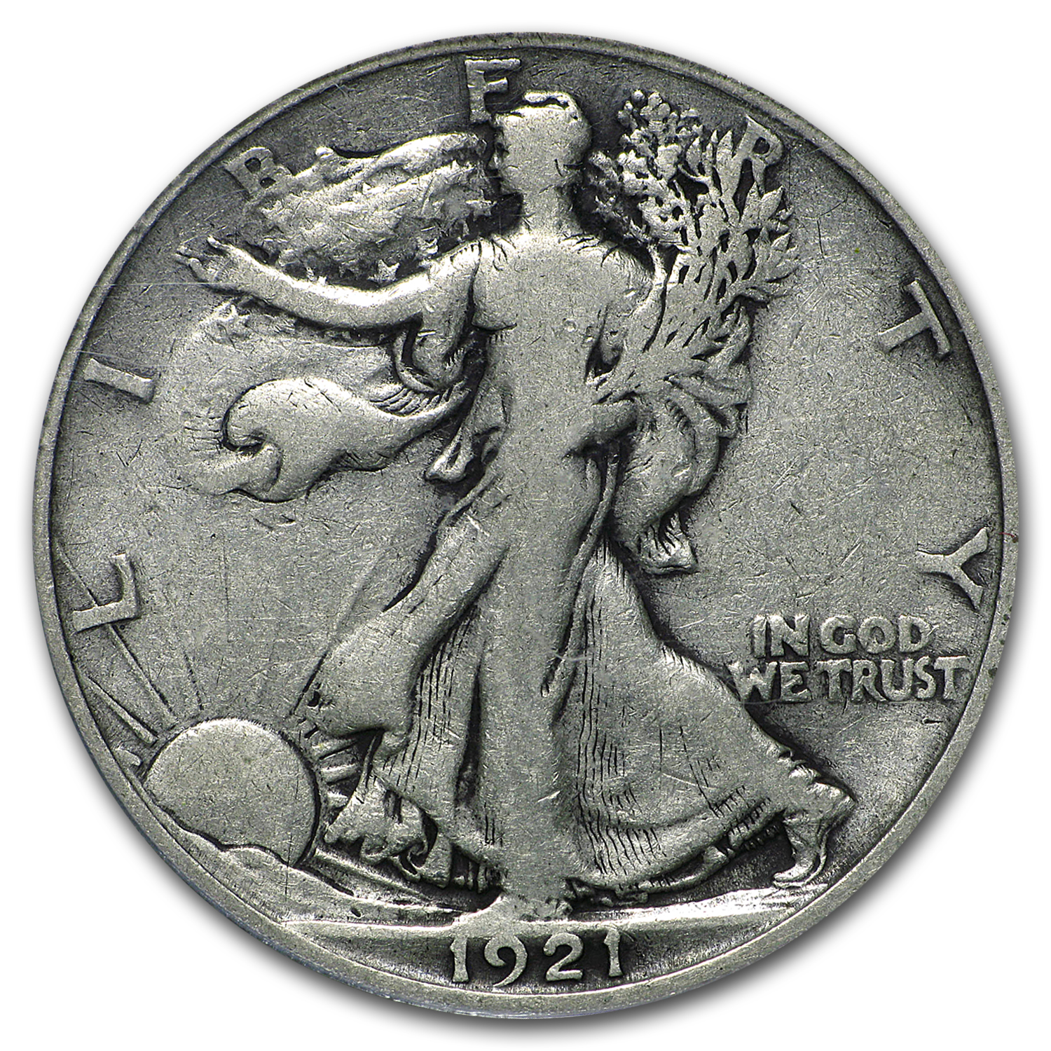 1921-D Walking Liberty Half Dollar Fine-12 PCGS