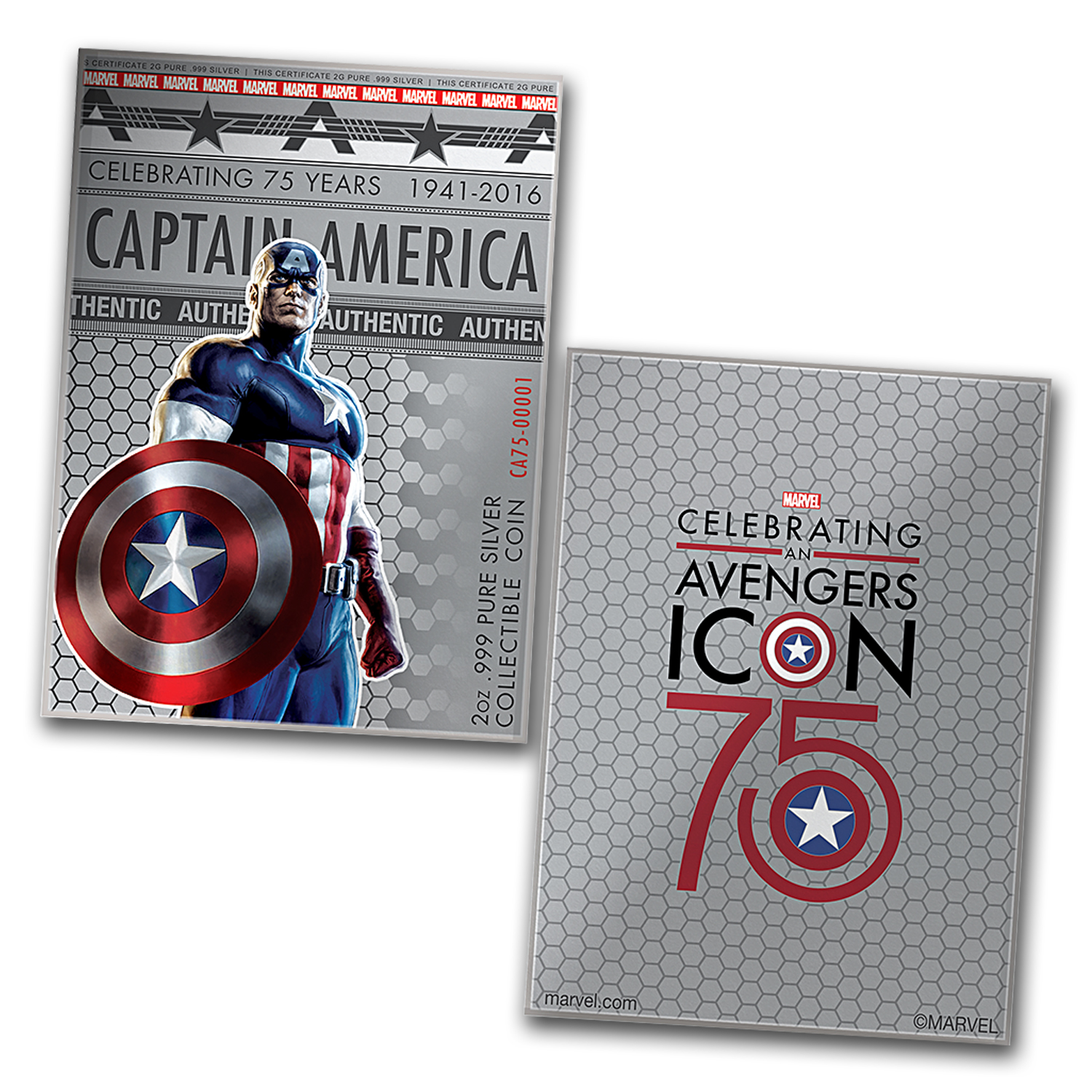 "2016 Fiji 2 oz Proof Silver Domed ""Captain America"" Shield"