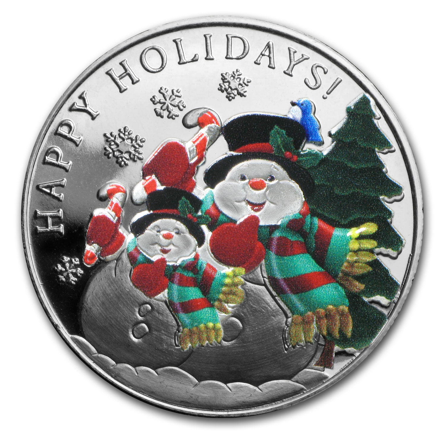 1 oz Silver Round - Colorized Snowman