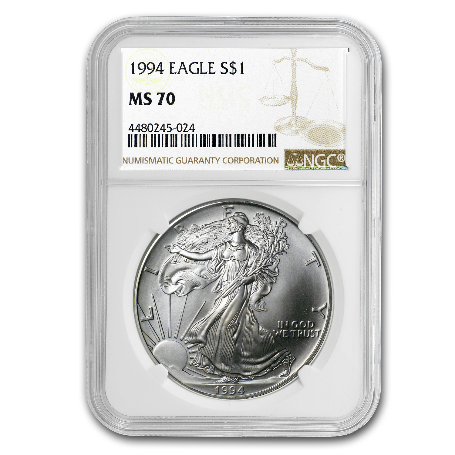 1994 Silver American Eagle MS-70 NGC (Registry Set)