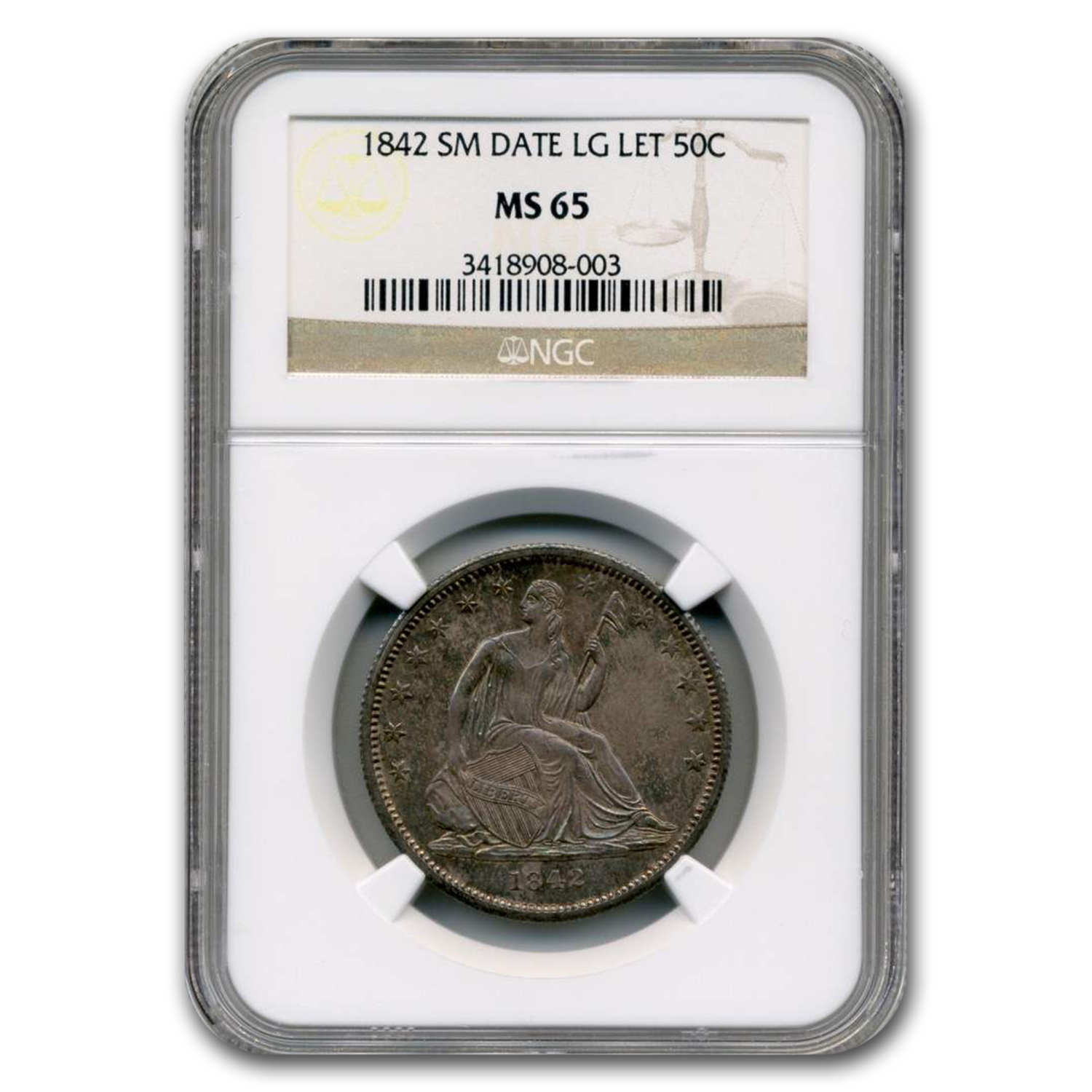 1842 Liberty Seated Half Dollar MS-65 NGC (Small Date)